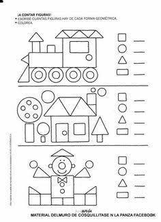 Resultado de imagen para ejercicios de las figuras geometricas para preescolar
