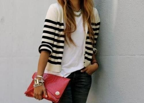 : Stripes Cardigans, Pop Of Colors, Navy Stripes, Bracelets, Date Outfits, Stripes Sweaters, Southern Charm, Red Clutches, The Cardigans