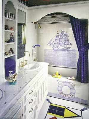 Nautical And Fun Themed Bathroom Do It Yourself By Adding A Little Bit Of Luxurious Cobalt Blues Yellows