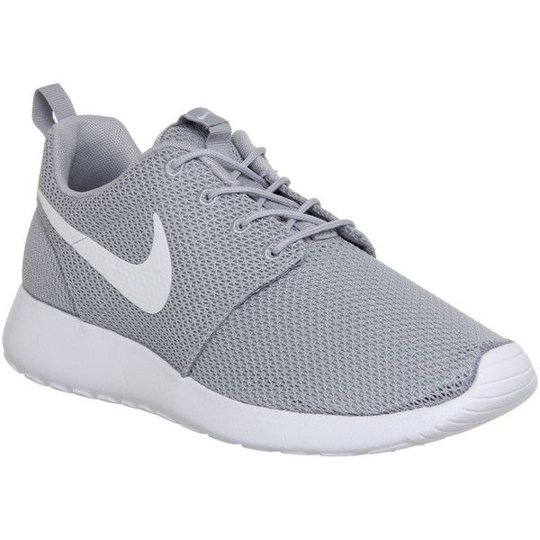 Nike Roshe Run ($105) ❤ liked on Polyvore featuring shoes, sneakers, nike, tennis shoes, trainers, unisex sports, wolf grey white, sport tennis shoes, sporting shoes and white tennis shoes