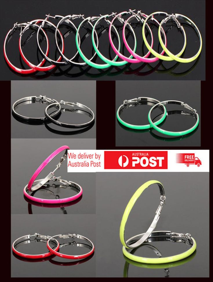 Hoop Earrings Colour Round Circle Drop Dangle Fashion Party   Women Jewellery