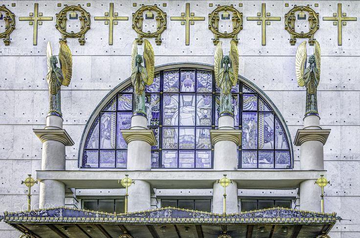"Otto-Wagner-Kirche - Kirche am Steinhof 1904-1907 Kirche zum heiligen Leopold Otto-Wagner-Kirche Psychiatrisches Krankenhaus der Stadt Wien-Baumgartner Höhe Otto Wagner-Spital ""Lemoniberg"""