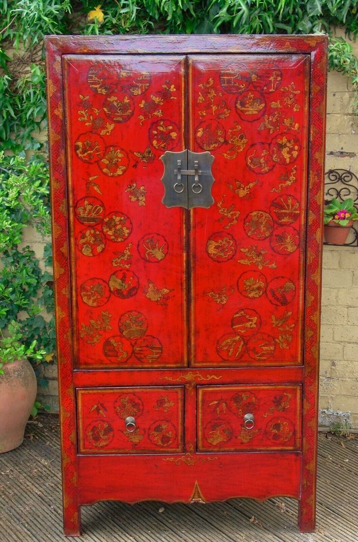 Fabulous Red Lacquer Chinese Wedding Cabinet In 2019