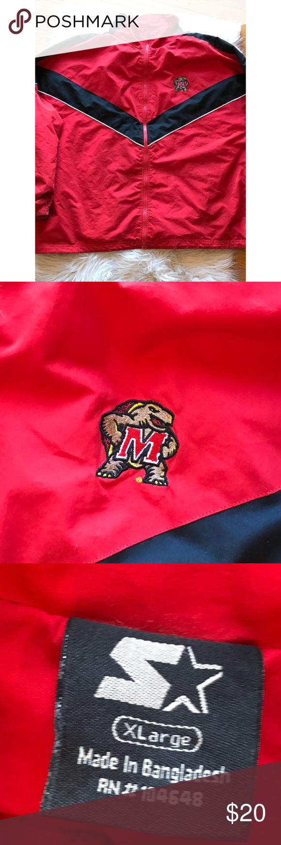 Maryland University STARTER Windbreaker Men's XL Maryland University STARTER Windbreaker Men's XLarge. Minor flaws , see pictures for details. Small hole in the back STARTER Jackets & Coats Windbreakers