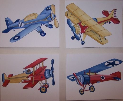 VINTAGE AIRPLANES LITTLE PLANES TYSON KIDS boys ART NURSERY aviation children #BabyNurseryDECORPrint