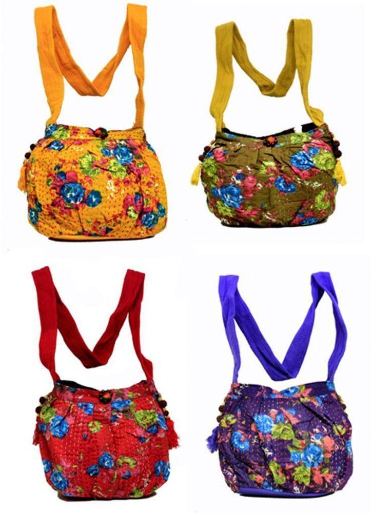 10 Cotton Casual Indian Kantha Style Women Cross Body Boho Wholesale Bags #Handmade #ShoulderBag