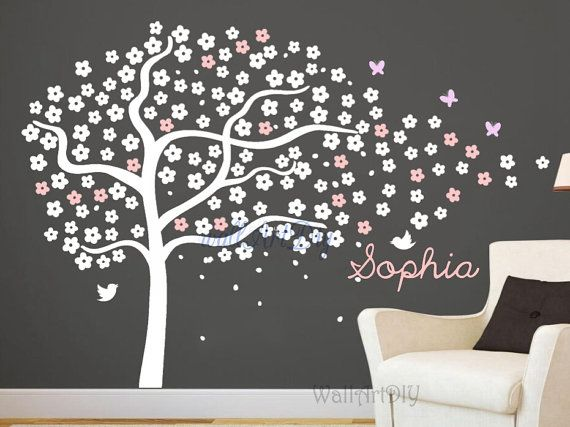 Tree wall decals Nursery tree wall stencils White and pink tree murals with birds Butterfly wall decal Girl's room wall stencils-25