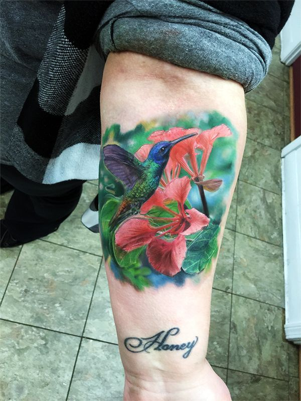 humming bird tattoo  hyper realistic tattoo  photo realism tattoo