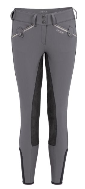 Pikeur Indiga Contrast Premium Collection Breeches - Pikeur  Pikeur Indiga ladies breeches with ¾ seat full McCrown leather seat. These breeches feature a wider waistband with decorative pockets and a stretch side insert at ankle. Strass application and leather label on the rear of breeches.    Material: 64 % cotton, 29 % polyamide, 7 % elasthane - Prestige-Micro 2000+ Fabric