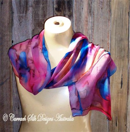 Hand painted silk Georgette in pinks and blues