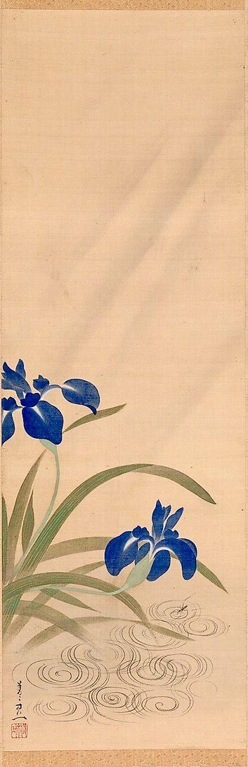 """""""Irises and Stream"""" Suzuki Kiitsu (Japanese, 1796–1858). Hanging scroll. The Met."""