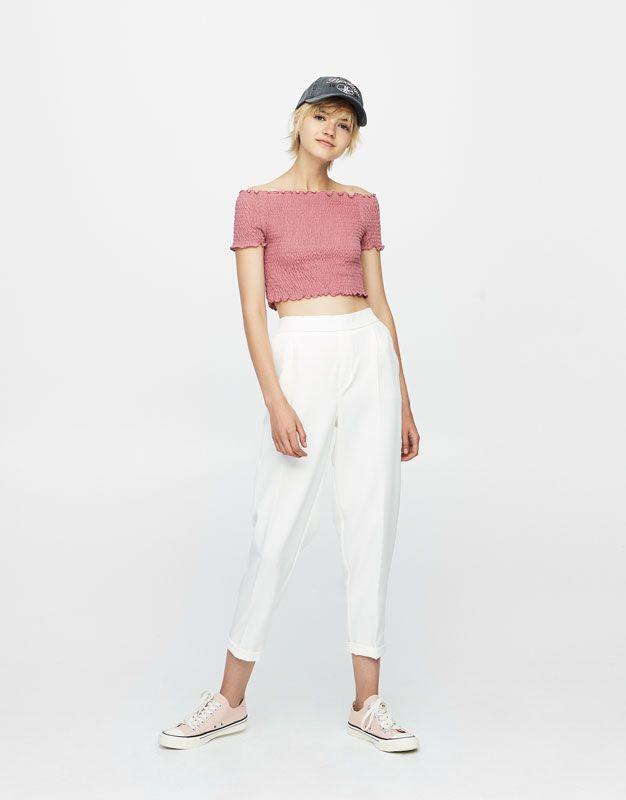 Pull&Bear - femme - vêtements - maille - top encolure bardot smocks - rose moyen - 09557315-I2017