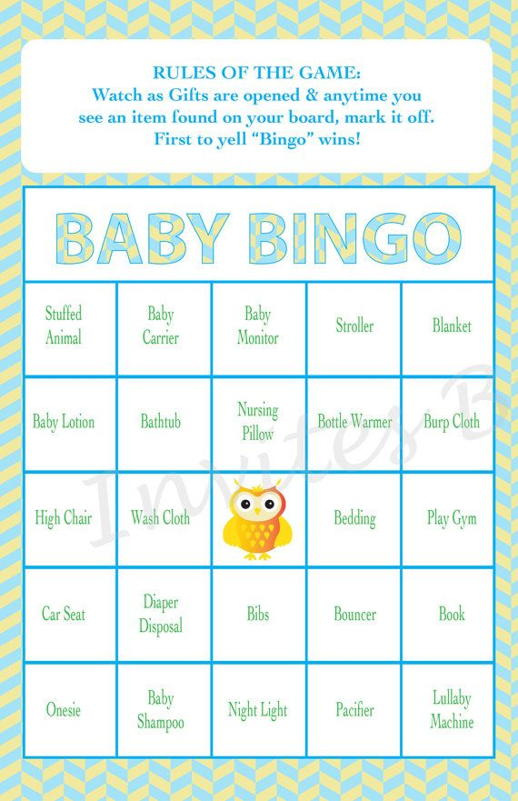 Baby Shower Bingo Game Owl