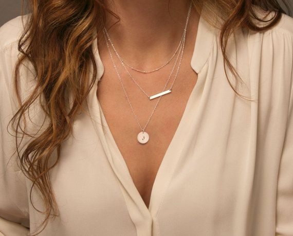 Layering Necklaces with a Small Skinny Bar Necklace in Sterling Silver or 14k Gold Fill. Delicate, minimal necklaces that can each be worn on