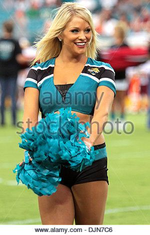 03 SEPT 2009:  A member of The Roar, the Jacksonville Jaguars cheerleading team, in action during the Jaguars preseason - Stock Photo