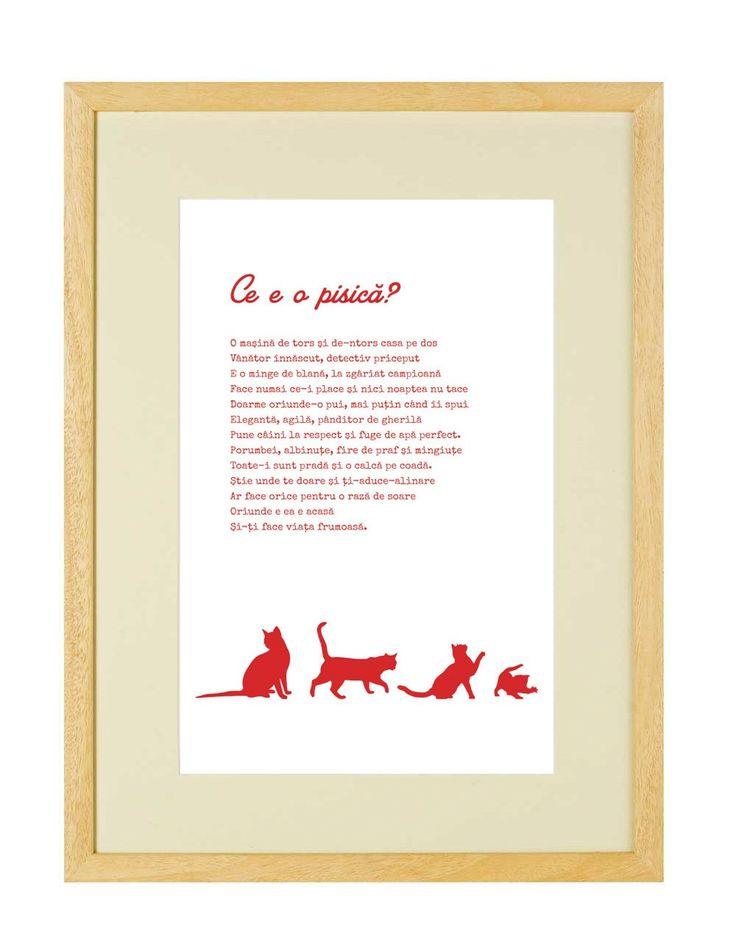 """Tablou - Ce e o pisica: Un print elegant incastrat intr-o rama casetata, dedicat tuturor """"pisicarilor"""" din lume. Poemul original """"Ce e o pisica"""" o defineste in versuri pe prietena ta agila si gratioasa"""