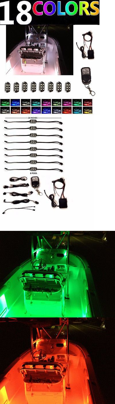 boat parts: Waterproof 8Pc Boat Led Interior Marine Deck Neon Lights Pod Kit Yacht Pontoon BUY IT NOW ONLY: $72.99