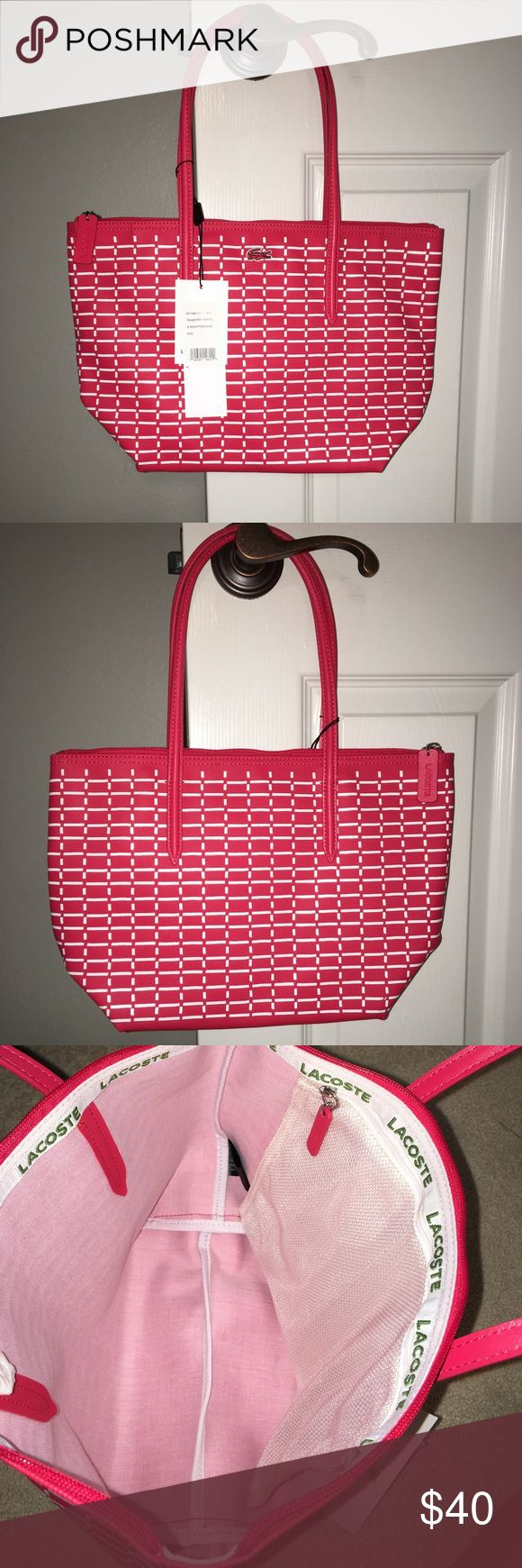 """Red and White Lacoste Shopping Bag PVC. One inside pocket. 15 1/4"""" L. 6"""" D. 10"""" H. Lacoste Bags Totes"""