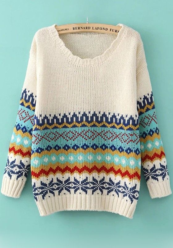 White Geometric Print Long Sleeve Sweater I need to order this
