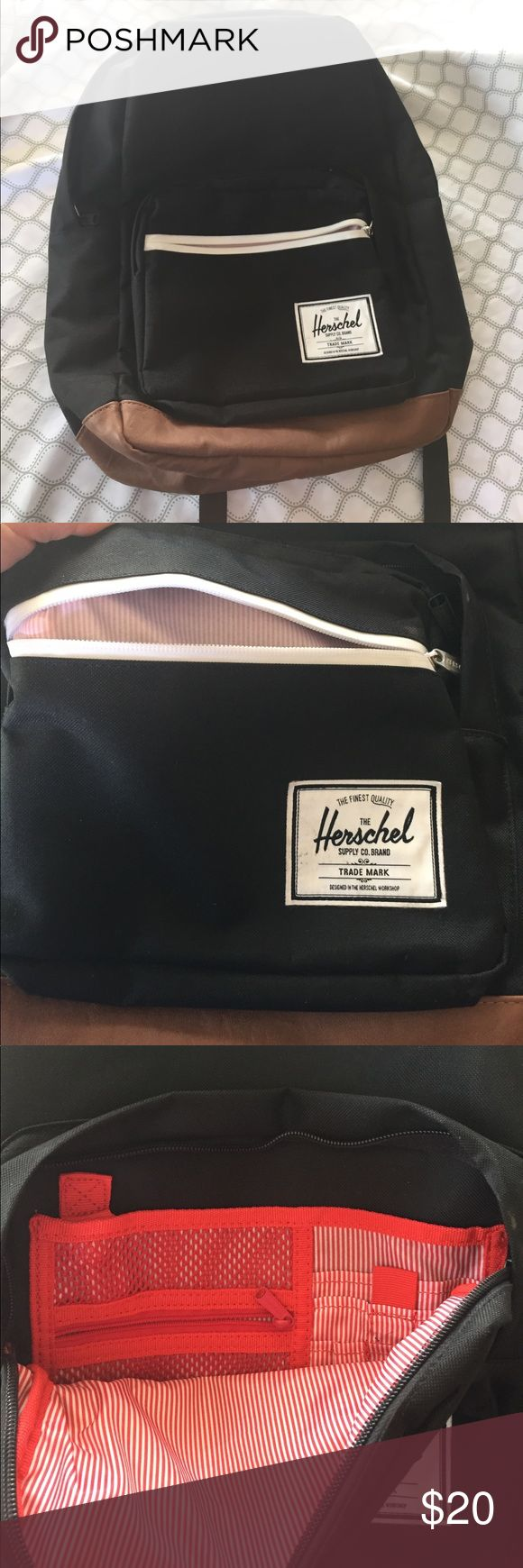 Herschel Supply Co. Backpack Black with brown leather, has a soft lined pocket inside for laptop, it does have that little stain, but overall the rest is in very good condition Herschel Supply Company Bags Backpacks