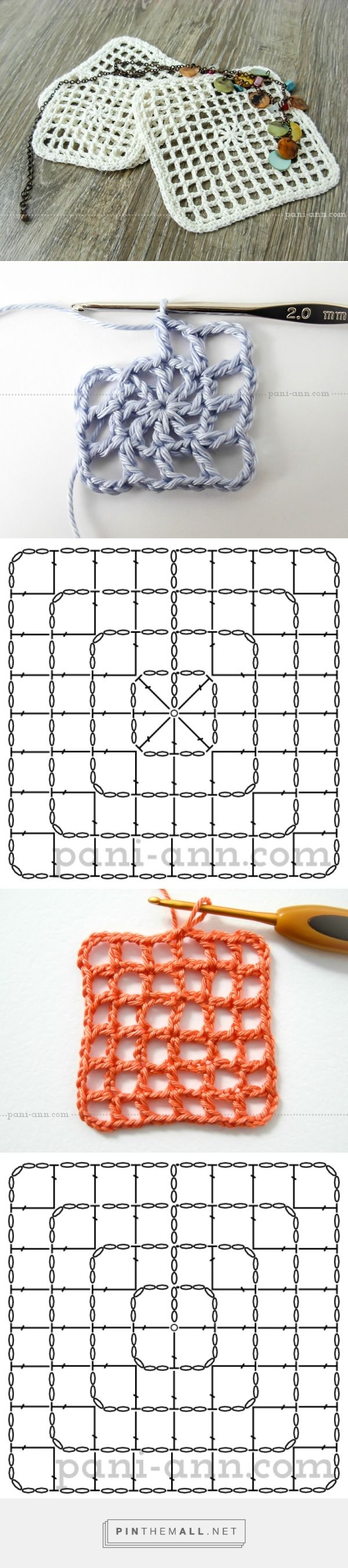 filet crochet in the round to create square - picture tutorial on site ༺✿ƬⱤღ http://www.pinterest.com/teretegui/✿༻
