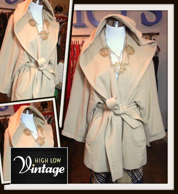 Vintage Camel Hoodie Wool Wrap Coat Jacket with by HighLowVintage