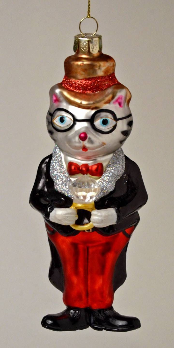 Glass cat ornaments - Cat Lovers Groom Wedding Cat In Tux With Ring Glass Christmas Ornament