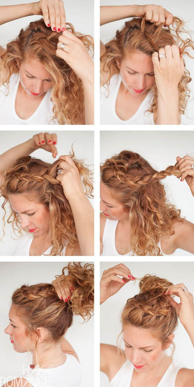 Tutoriales Curly Braided Top Knot Howtos Hairstyles