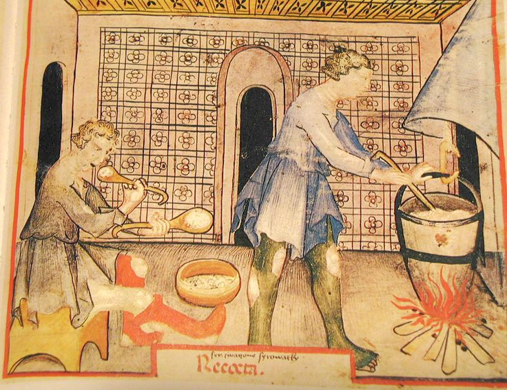Muckley 1386: Peasants cooking. The Tacuinum Sanitas, Late 14th century.