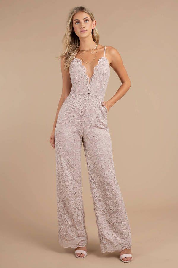 Champagne Lace Jumpsuit