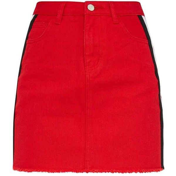 Red Sports Stripe Denim Mini Skirt ($35) ❤ liked on Polyvore featuring skirts, mini skirts, red skirt, striped short skirt, denim miniskirt and red striped skirt