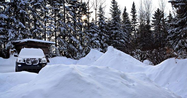 Winter snow piles in Central Alberta