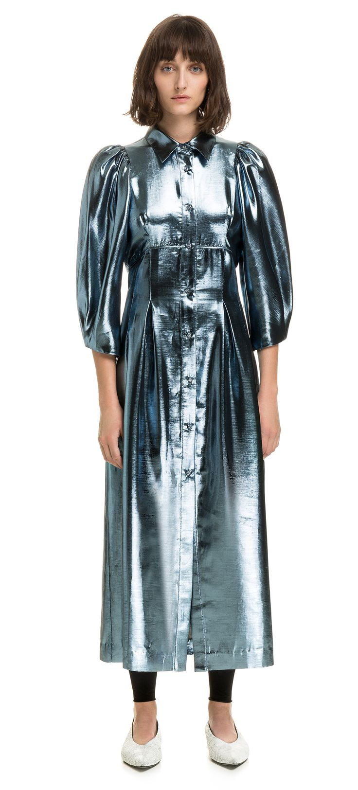 BIMBA Y LOLA metallic blue lurex shirt dress. Model fitted at the waist with flared skirt, shirt collar, pleated shoulders and wide, elbow-length asymmetrical sleeves. Front buttoning and midi length.   Detail  Standard fit Shirt collar Three-quarter leng