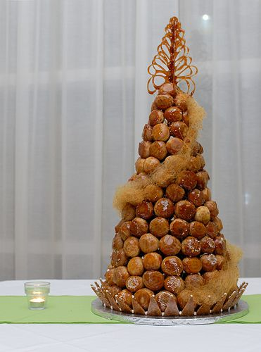 A croquembouche (or croque-en-bouche). These are used in France instead of traditional British wedding cakes.