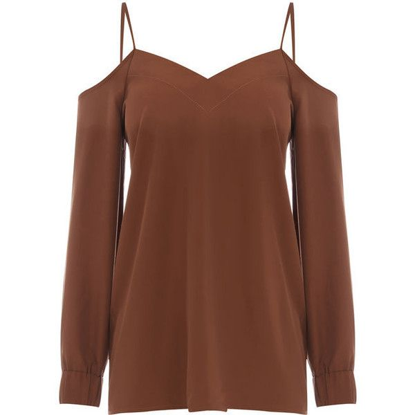 CAMI COLD SHOULDER TOP ($25) ❤ liked on Polyvore featuring tops, sweetheart neckline tops, brown tank top, camisole tank top, cold shoulder tops and rouched top