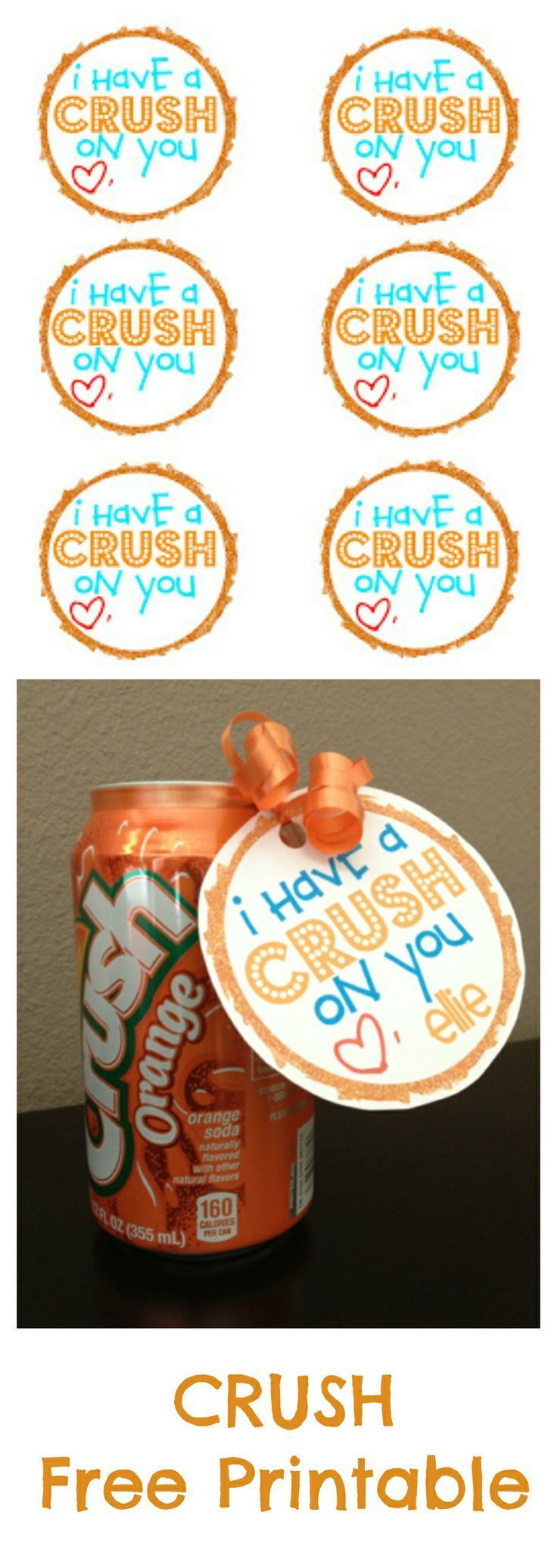 """Valentines Soda """"I have a crush on you"""" FREE printable!"""