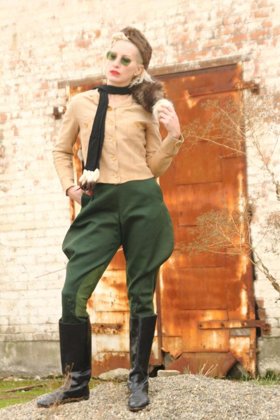 1940s Jodphur riding pants forest green whipcord high