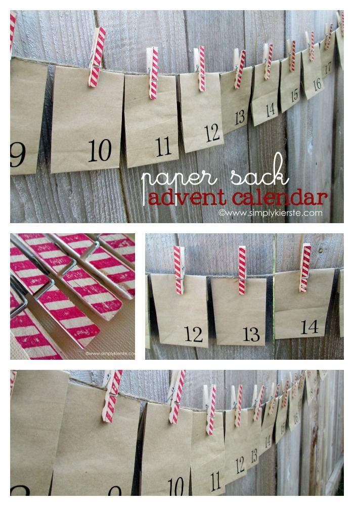 This darling advent calendar uses paper sacks and clothespins to create and easy countdown to Christmas!