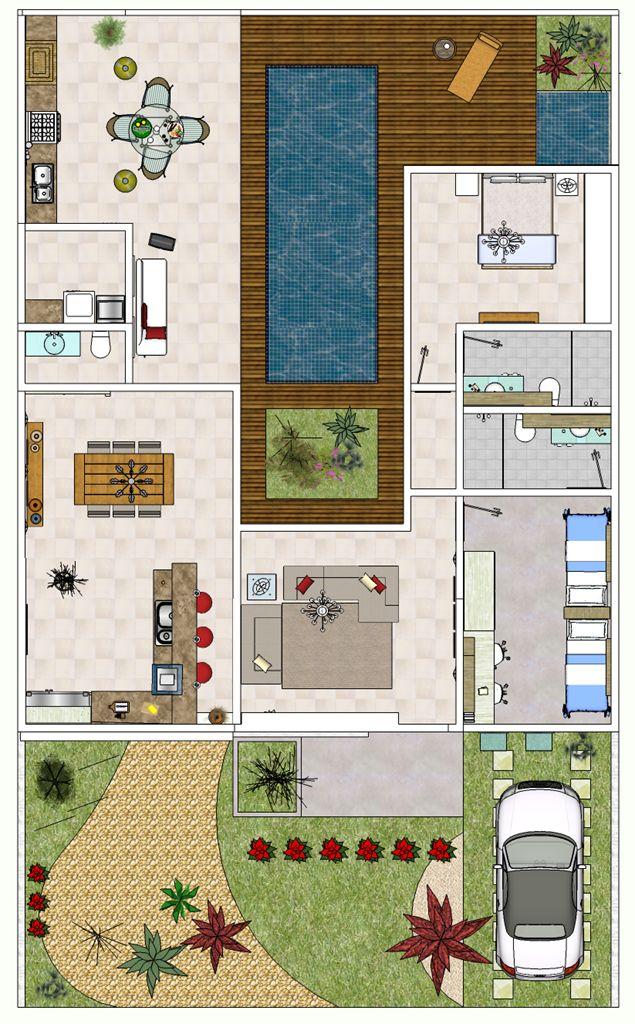 25 melhores ideias de plantas de casa moderna no for Plantas de viviendas modernas
