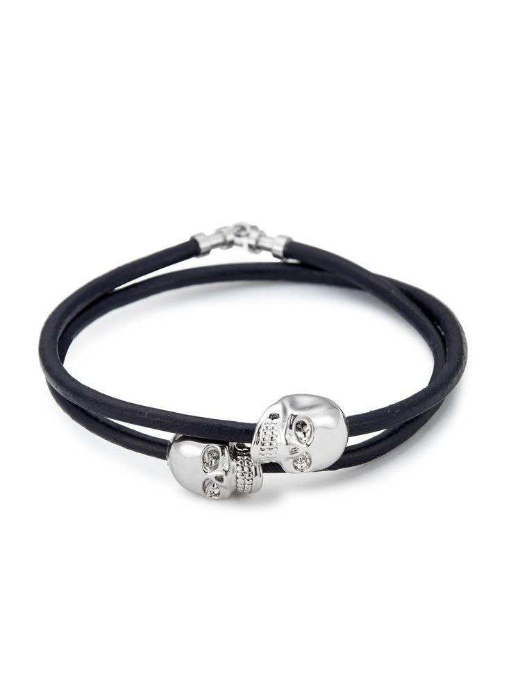Navy Blue Leather / Silver Skull Double Wrap Bracelet
