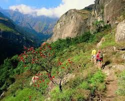 Drakensberg mountains - South Africa....Hikers making their way up the path