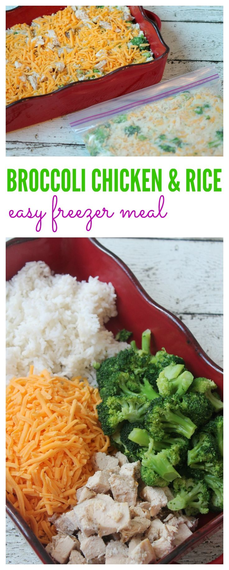 Cheesy broccoli chicken rice recipe! Easy Freezer Meal for your family!