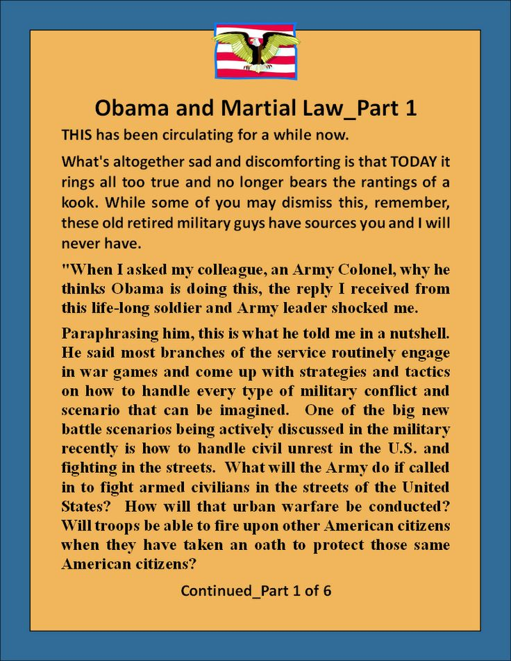 Obama's Plan for Martial Law_1 of 6,  look for the other 5 on either pinterest or however you can and read them.  This is just scarry.