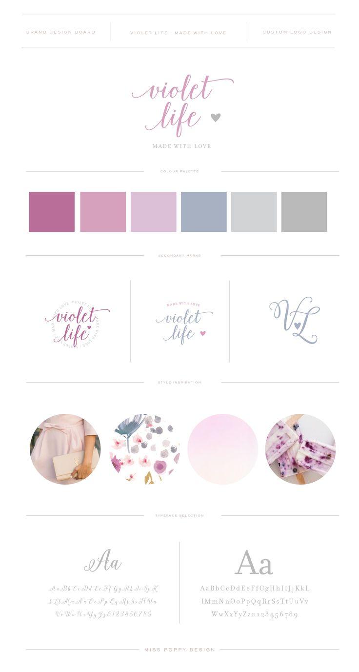 VIOLET LIFE // Brand Design and Logo by Miss Poppy Design / Calligraphy / Modern / Chic / Feminine / Purple and Grey / Brand Board www.misspoppydesign.com
