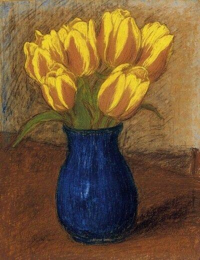 József Rippl-Rónai (Hungarian, 1861-1927),Tulips, n.d. Pastel on paper, 41 x 32cm.