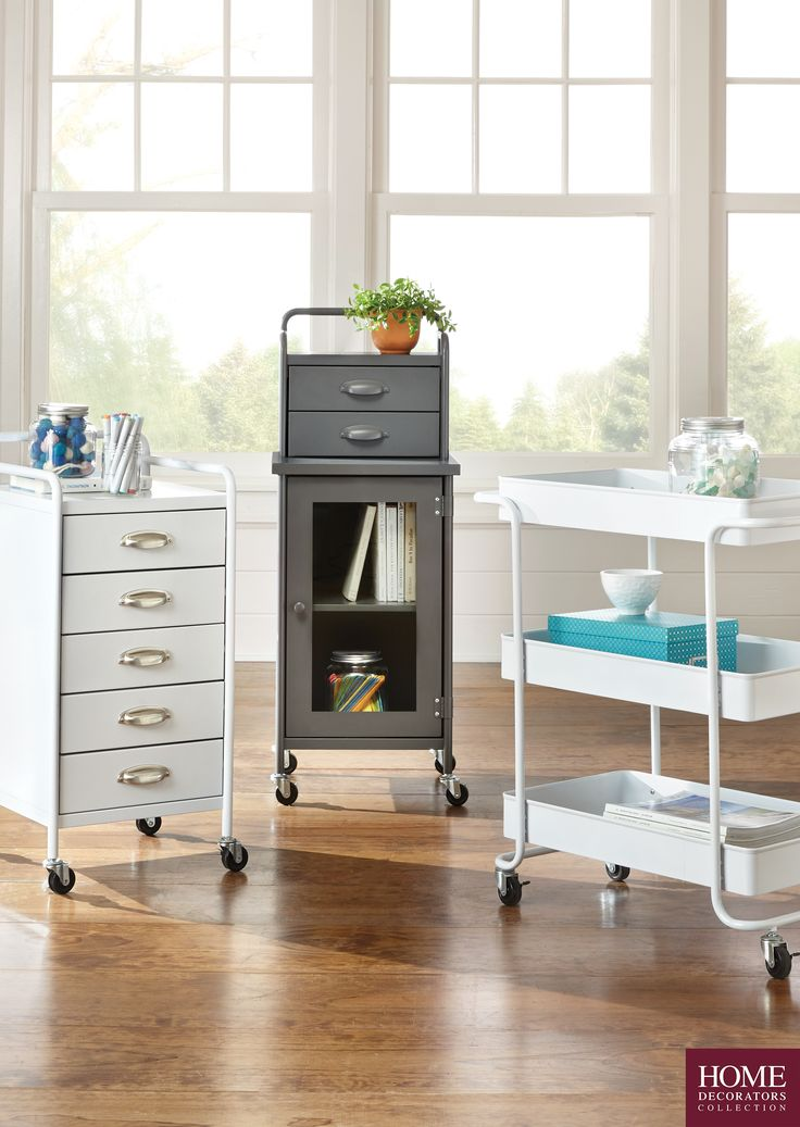 Whether for your dorm or apartment, a mobile cart like this adds major storage and some style too. This is great for holding toiletries and makeup, keeping books organized or even desk supplies. Roll it anywhere in your dorm room or small apartment for easy convenience. It makes for the perfect organization piece. Made of steel and available in bright colors. This Steel Cart is a must-have on your college packing list. Shop Home Decorators Collection at The Home Depot.