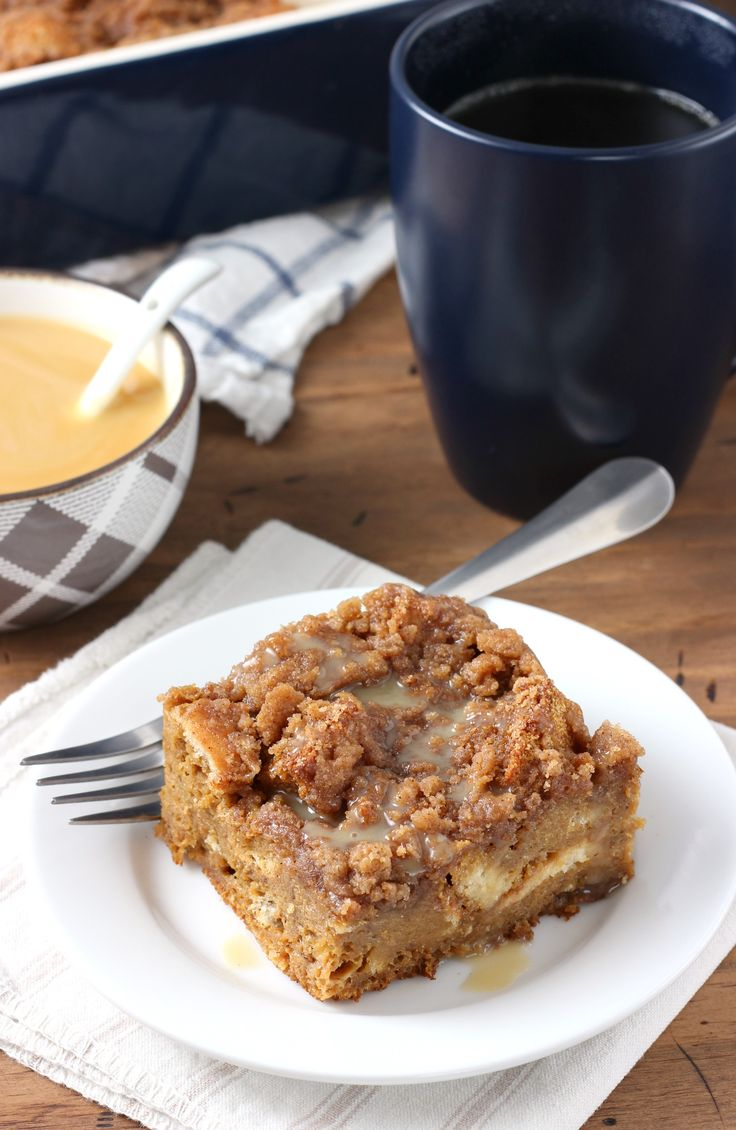 Eggnog Gingerbread French Toast Bake with Eggnog Syrup Recipe from A Kitchen Addiction @akitchenaddict