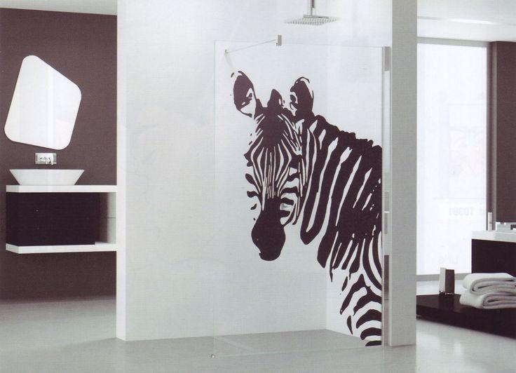 Glazen douchewand voor de inloopdouche met print - Kuadra van Novellini #zebra #zwartwit