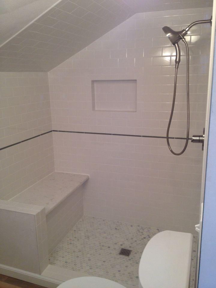 Our new Custom shower quartz bench subway tile marble