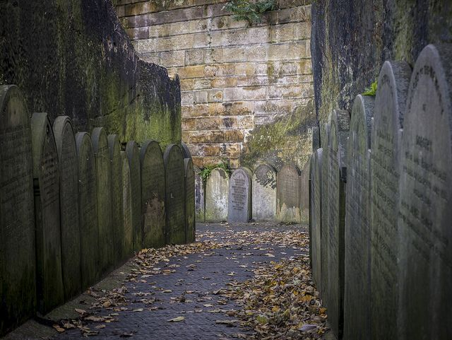 The path down to St James Park, lined with old gravestones, Liverpool, England